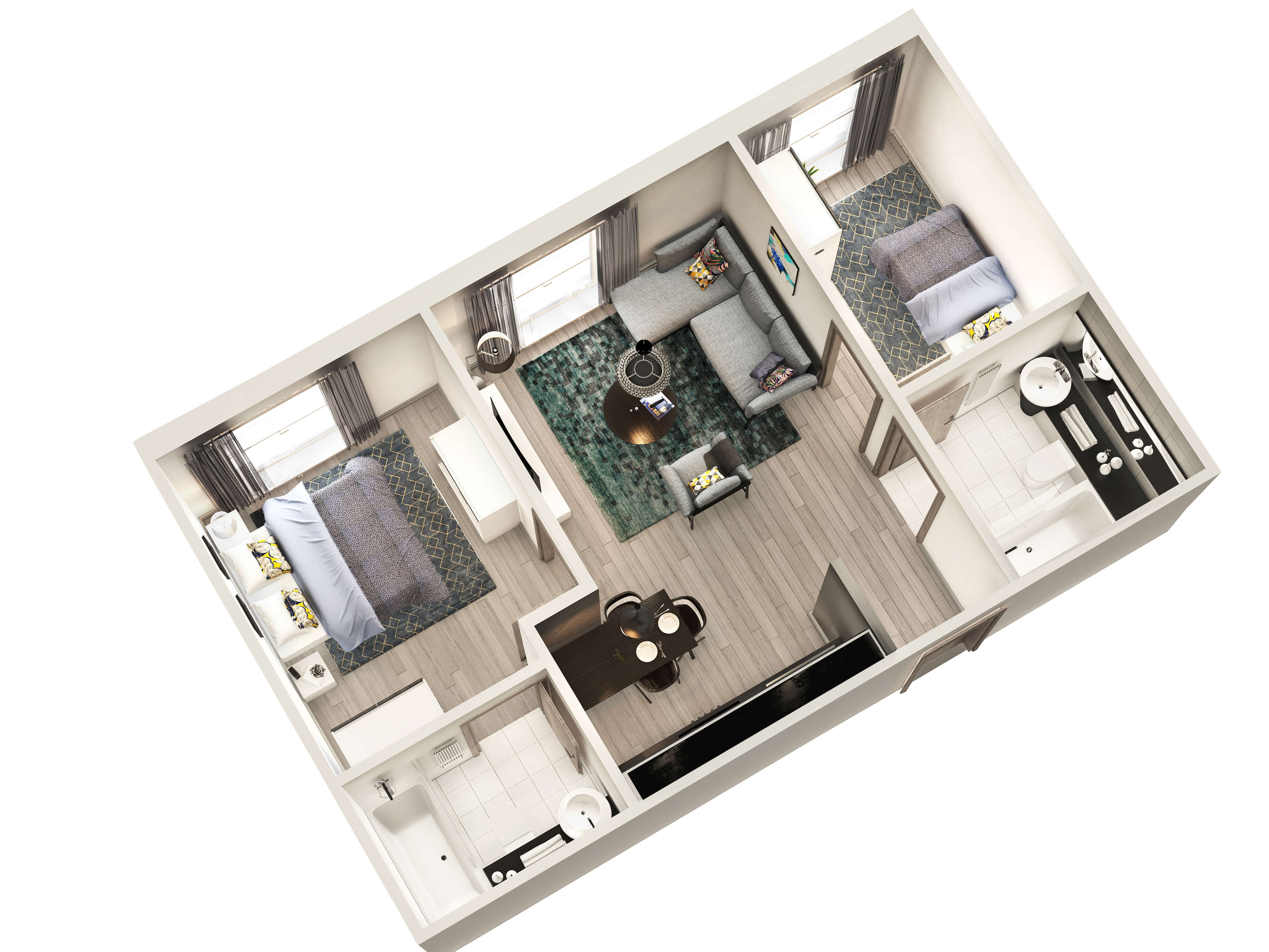 CGI Visual of Winckley House 2 Bedroom Interior Apartment View for Marketing purposes