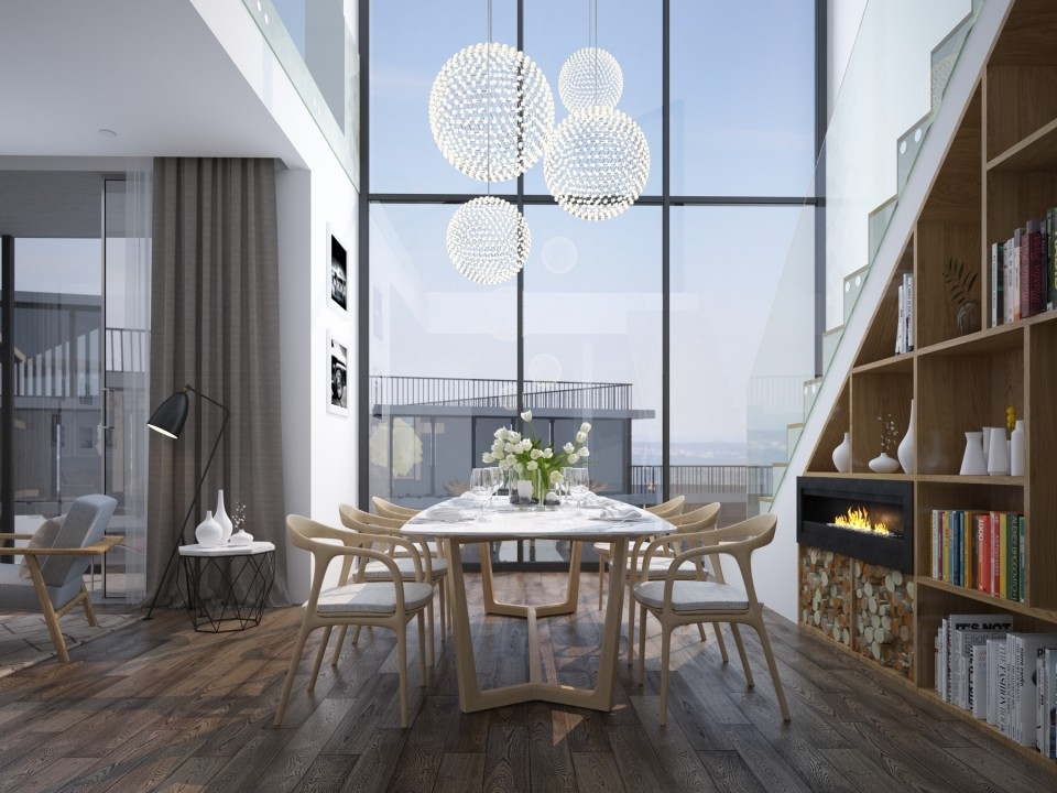 enkishon penthouse dining area 3D visualisation