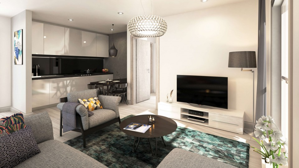CGI Visual of Winckley House living room Interior visual Apartment View for Marketing purposes